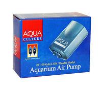 Aqua Culture 20-60 Gallon Air Pump Double Outlet For Aquarium 2 Check Valves