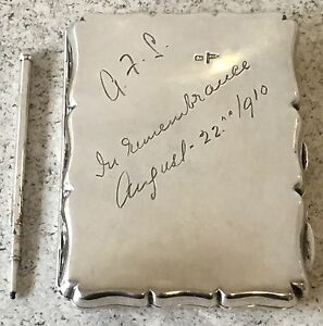 Hallmarked 1910 Aide Memoire Card Case Original Pencil Antique Silver Leather - London, London, United Kingdom - Hallmarked 1910 Aide Memoire Card Case Original Pencil Antique Silver Leather - London, London, United Kingdom