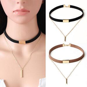 Women-Fashion-Velvet-Choker-Necklace-Pendant-Chain-Of-Gold-Bar-Chocker-Jewelry