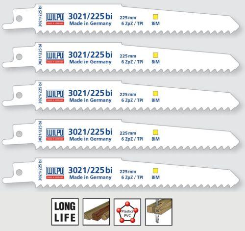 Säbelsägeblätter 5 Stück Bi-Metall 225 mm für Säbelsäge S1111DF Wilpu 3021//225bi