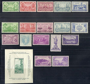 US-1937-Complete-Commemorative-Year-Set-of-18-w-SS-Army-amp-Navy-MNH