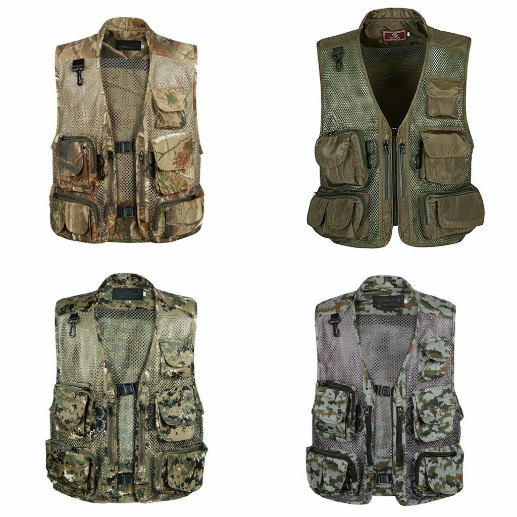 Mens Mesh Casual Magazines Men's Hunting Fishing Photography Camouflage Vests