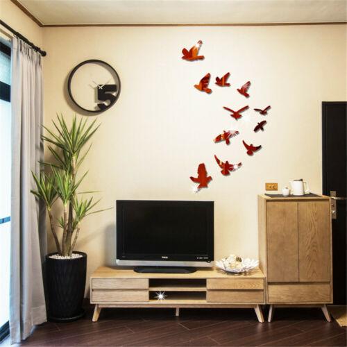 Wall Stickers Bedroom Decor Fashion Wall DIY Vase Birds Crystal Arcylic 3D Black