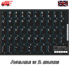 English US Black Keyboard Stickers with White Letters for Laptop Computer PC