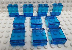 Lego-Panel-transparent-dark-blue-1x2x2-Lot-of-10-New