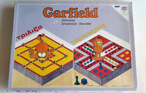Garfield-Vintage-Board-Game-2-In-1-Games-Ludo-amp-Tic-Tac-Toe-9-Greek-Edition-1978