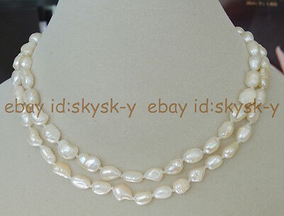 Long 36 Inches Natural 7-8mm baroque white freshwater pearl necklaces AA