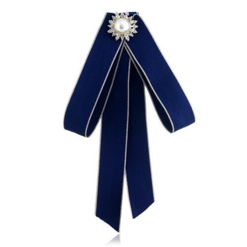 Women Satin Striped Ribbon Brooch Pin Necktie Dress Collar Rhinestone Bow Tie