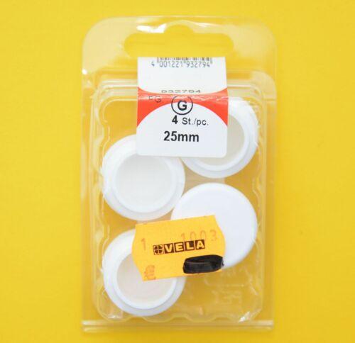 HSI 4 Gleitkappen rund weiß 25mm für Stuhlbeine Rohrkappen Rundrohre  932794