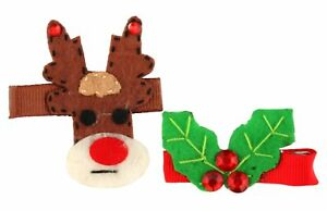 Herrlich Zest 2 Festive Rudolph & Holly Tie Pins Clips Slides Brown Green & Red Modischer (In) Stil;