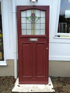 Stained Gl Front Door Wooden Reclaimed Period Old Edwardian