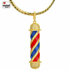14K Gold Plated Diamond Barber Shop Pendant Miami Cuban Chain Set BCH 15108 G