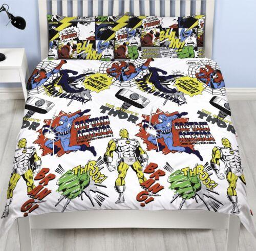 Marvel Comics Scribble Double Duvet Cover Reversible Bedding Set Spiderman