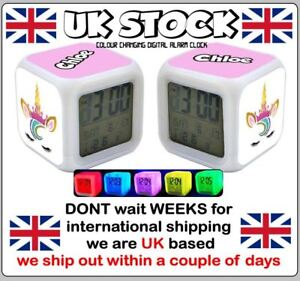 Details about Personalised girls Unicorn face digital alarm clock - any  name printed