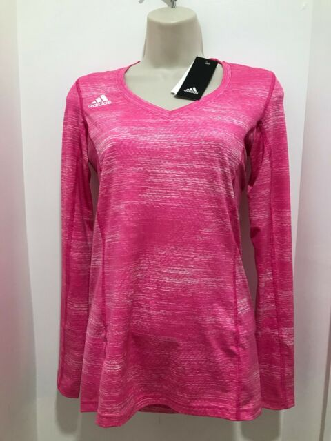 adidas Womens 2xs Shock Pink Volleyball Hi-lo Long Sleeve Jersey ...