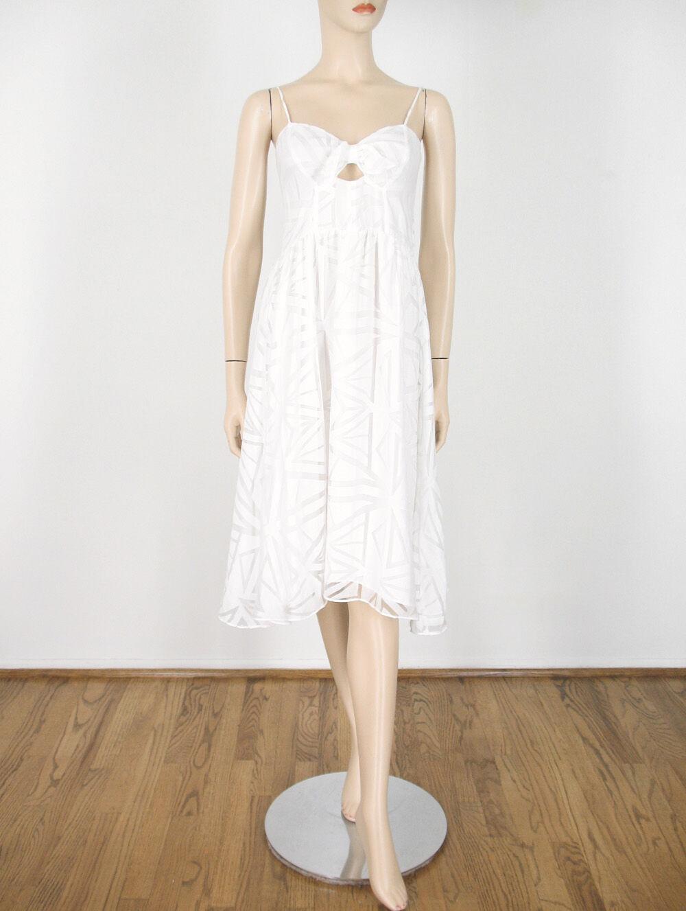 Parker Miranda Geometrisches Muster Kleid Weiß Sweetheart Smocks M 9759 Bm14