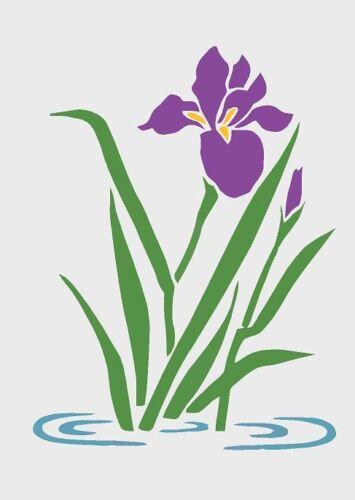 Stencil di acqua Iris floreale francese vintage francese shabby chic A4