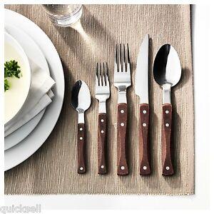 Details About Ikea Wooden 20 Pc Steel Flatware Silverware Set Wood Cabin Lodge Rustic Rustik