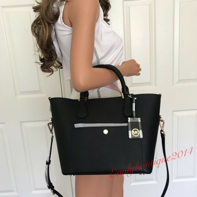 fead06fdd48d Michael Kors Greenwich Large Grab Bag Saffiano Leather Black for ...