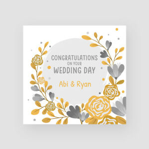 Personalised Handmade Wedding Card Gold Grey Flowers