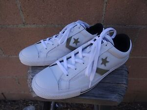 fdcd38a66 purchase image is loading converse star player leather ox white black khaki  dadf6 917d3