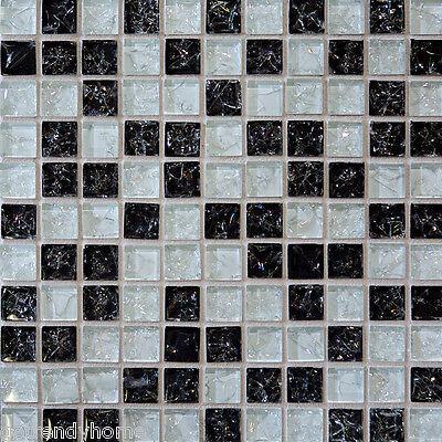 Sample- Black White Crackle Pattern Glass Mosaic Tile Kitchen Backsplash Bath