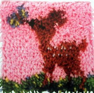 Image Is Loading Caron Animal Latch Hook Rug Pillow Kit 034