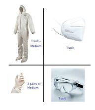 Hazmat Suit Dupont Tychem Survival Protection Coveralls Goggles Hood Ppe 6pc Kit