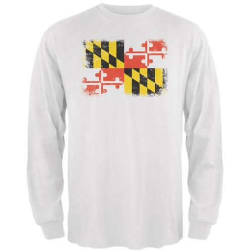 Born and Raised Maryland State Flag Mens Long Sleeve T Shirt