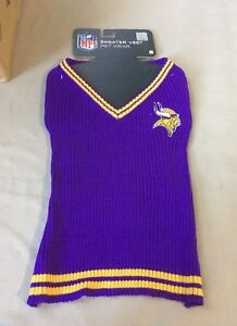 new style a7bf8 4760f Details about NFL Football Sweater Vest for Dog Pet L Large Minnesota  Vikings 14