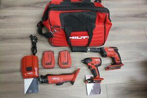 Hilti-22V-3-Tool-Cordless-Combo-w-Drywall-ScrewGun-Impact-Driver-Cut-Out-Tool