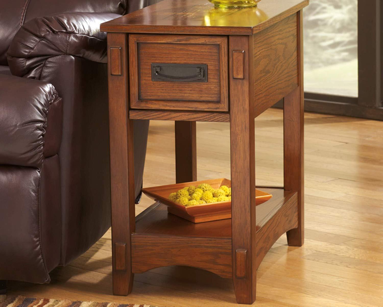 Mission End Table Side Wood V Oak Reddish Brown Finish Shelf Drawer Living Room