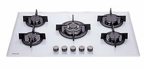 MILLAR-GH9051PW-5-Burner-Built-in-White-Gas-on-Glass-Hob-90cm-Cast-Iron-Stands