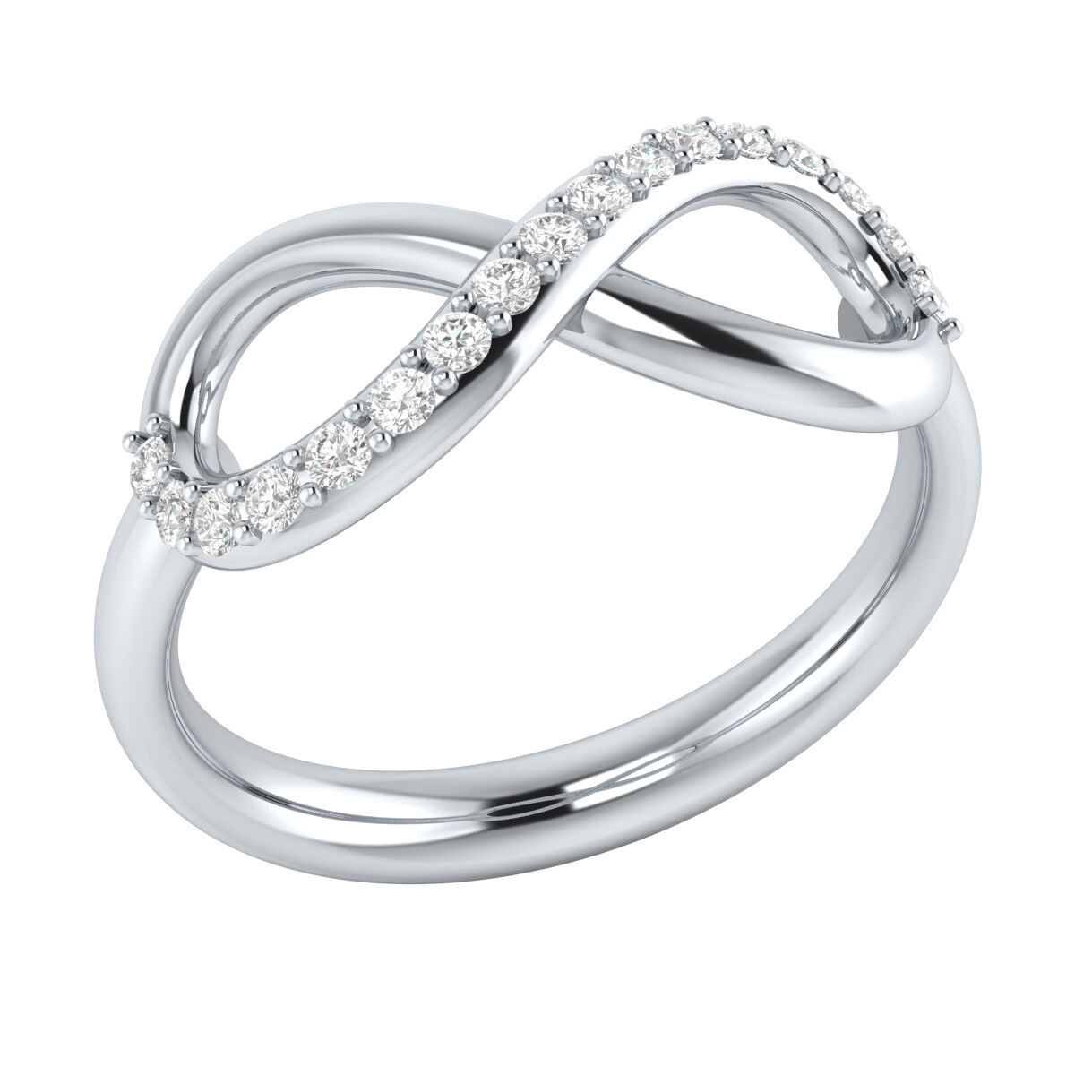 0.20 Ct Round Cut Diamond Infinity Promise Ring 14k White gold GP Valentine Day