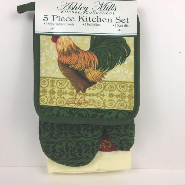 Yellow 2 Pot Holder 1 Scrubber Dishcloths 2 2 Kitchen Towel Rooster Design Kitchen Linen Bundle Package Oven Mitt