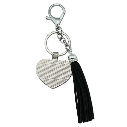 Italia Italy Italian Flag Chrome Plated Metal Heart Leather Tassel Keychain