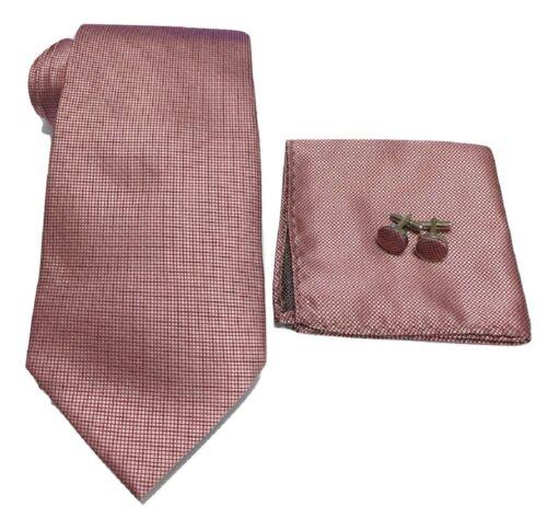 Cufflinks 3Pcs Men Woven Silky Tie Handkerchief Gift Set Hanky Wedding Party
