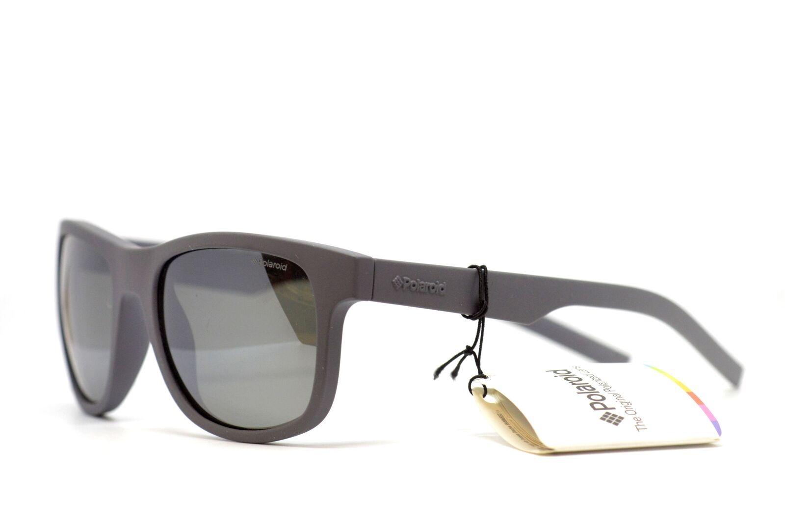 POLAROID small fit Rubberised Matte Grey Sunglasses Silver Mirror PLD6015 35W