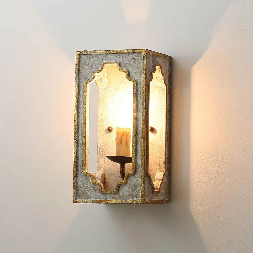 French Country Candle Wall Sconce Distressed Wood Wall Light Fixture Hallway