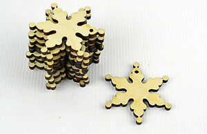 Set-of-12x-Christmas-Wooden-Snowflake-Ornaments-Craft-Shape-Decoration
