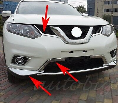 Grill Bumper Cover Molding For Nissan Rogue XTrail 2014-2016 Chrome Grille Strip
