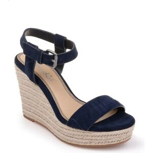 Splendid 250121 Womens Shayla Suede Espadrille Wedge Sandals Navy Size 7 Medium