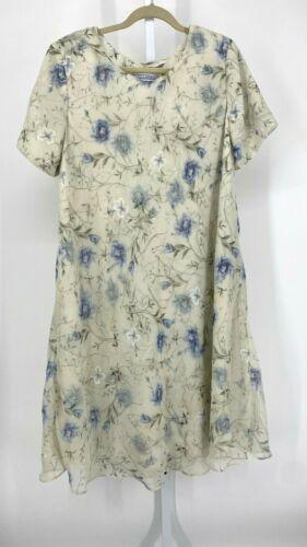Vintage Jessica Howard Dress Womens 16 Ivory Flora
