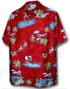 Christmas Hawaiian Shirts.Details About Christmas Santa Claus Hawaiian Shirt Red