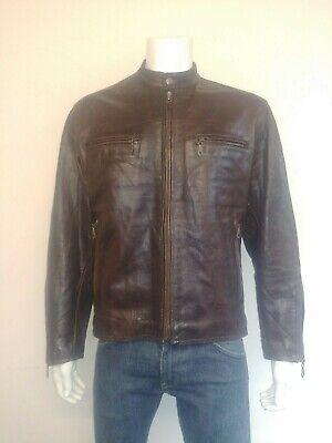 Chevignon Vintage In Pelle Cafe Racer/giacca Biker-stile Edizione Limitata Gene- Alta Sicurezza