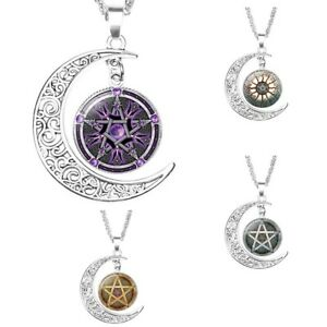 626b0c4bc0eb6 Details zu UK PENTAGRAM STAR MOON NECKLACE Jewellery Gift Idea Witchcraft  Witch Occult Goth