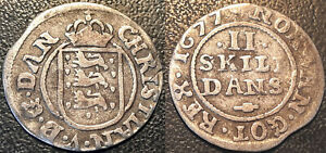 Danemark-Christian-V-2-skilling-1677-argent-orientation-avers-revers-90