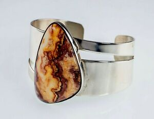 Jay King DTR Sterling Silver Cuff with Large Jasper, Gorgeous