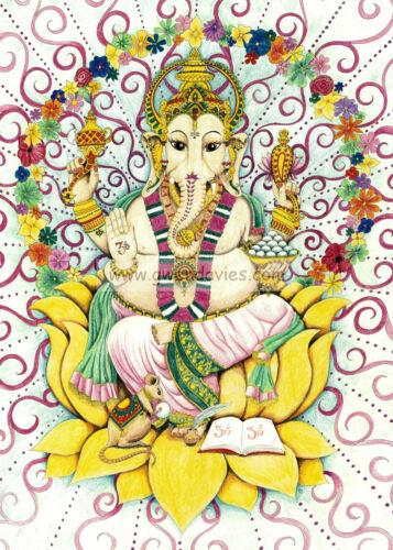 Ganesh carte de vœux dessinée et imprimé dans le royaume-uni tambour hippy hippie pagan