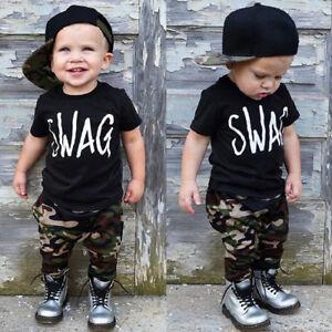 7dfa1f347 US Fashion Toddler Kids Baby Boy Tops T-shirt+Camo Pants 2Pcs Outfit ...